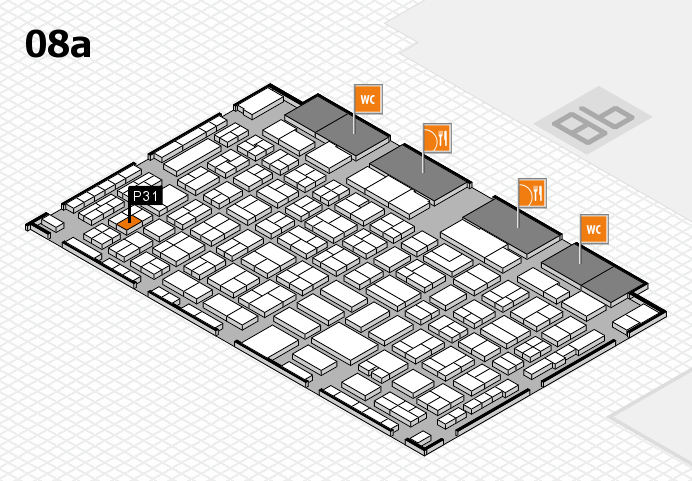 COMPAMED 2016 hall map (Hall 8a): stand P31