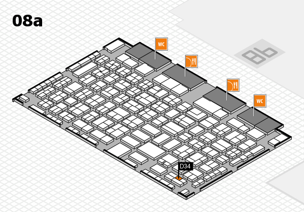 COMPAMED 2016 hall map (Hall 8a): stand D34