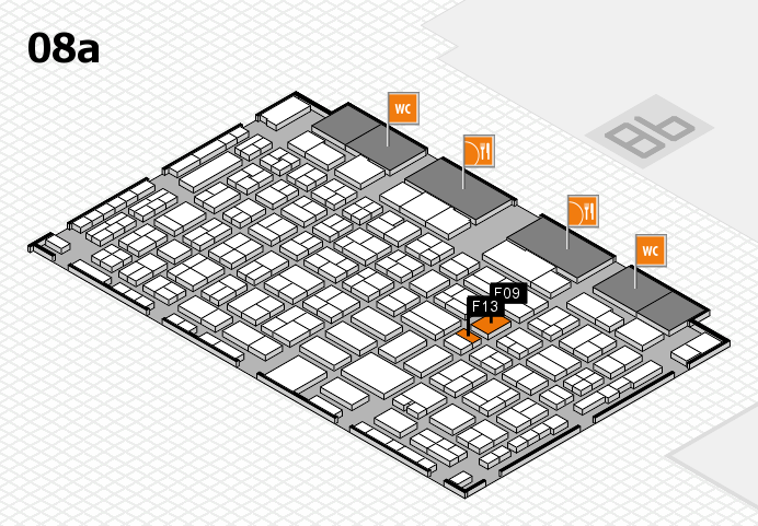 COMPAMED 2016 hall map (Hall 8a): stand F09, stand F13