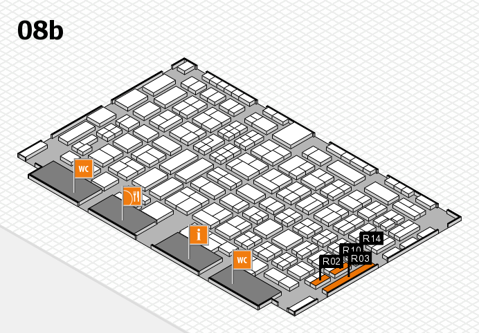 COMPAMED 2016 hall map (Hall 8b): stand R02, stand R14