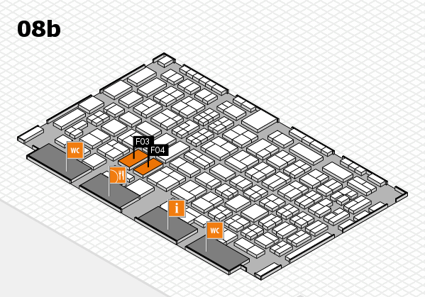 COMPAMED 2016 hall map (Hall 8b): stand F03, stand F04