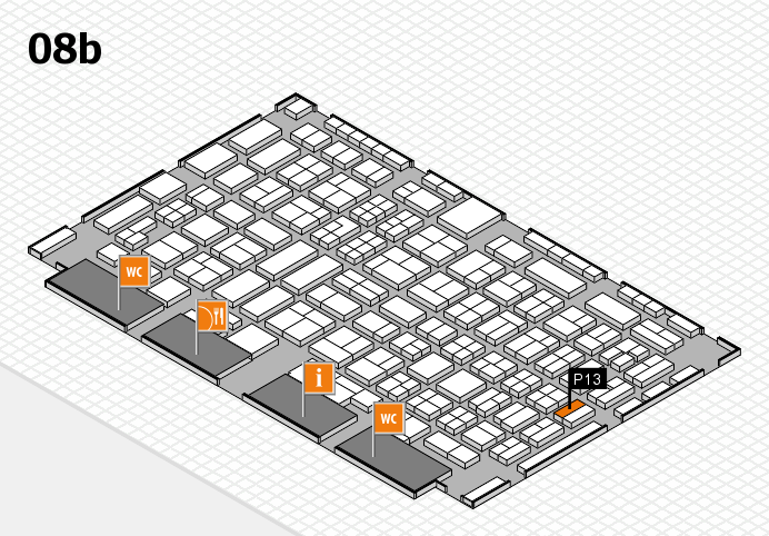 COMPAMED 2016 hall map (Hall 8b): stand P13