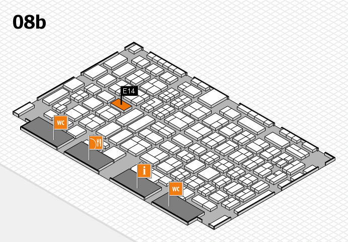 COMPAMED 2016 hall map (Hall 8b): stand E14