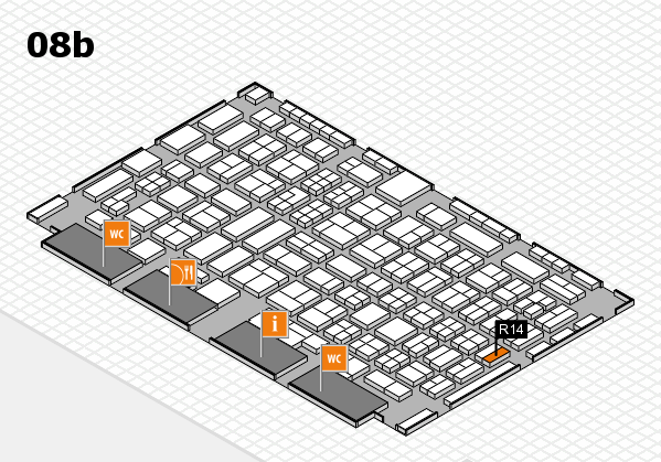 COMPAMED 2016 hall map (Hall 8b): stand R14