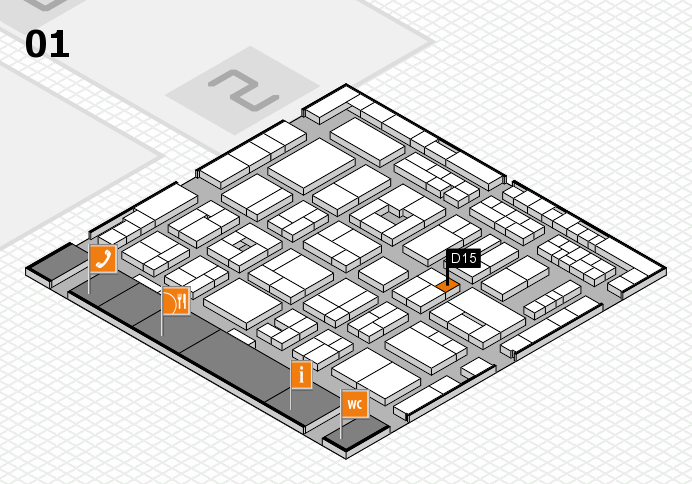 MEDICA 2016 hall map (Hall 1): stand D15