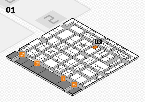 MEDICA 2016 hall map (Hall 1): stand E19