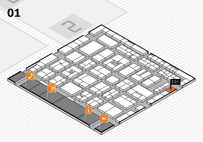 MEDICA 2016 hall map (Hall 1): stand E01
