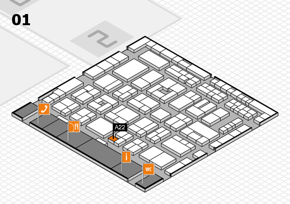 MEDICA 2016 hall map (Hall 1): stand A22