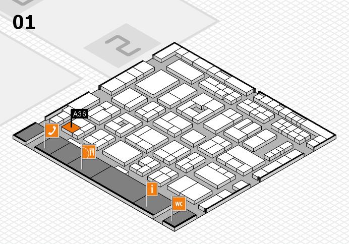 MEDICA 2016 hall map (Hall 1): stand A36