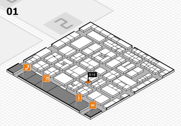 MEDICA 2016 hall map (Hall 1): stand B18