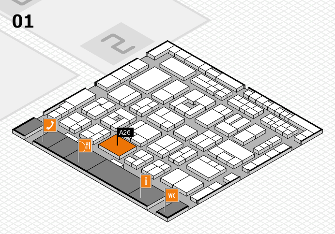 MEDICA 2016 hall map (Hall 1): stand A26
