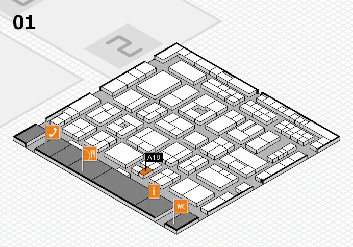 MEDICA 2016 hall map (Hall 1): stand A18