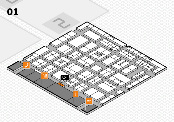 MEDICA 2016 hall map (Hall 1): stand A21