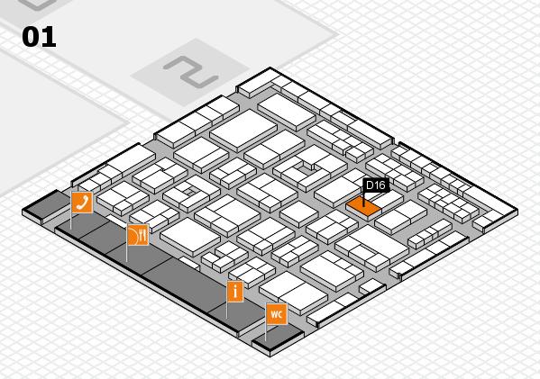 MEDICA 2016 hall map (Hall 1): stand D16