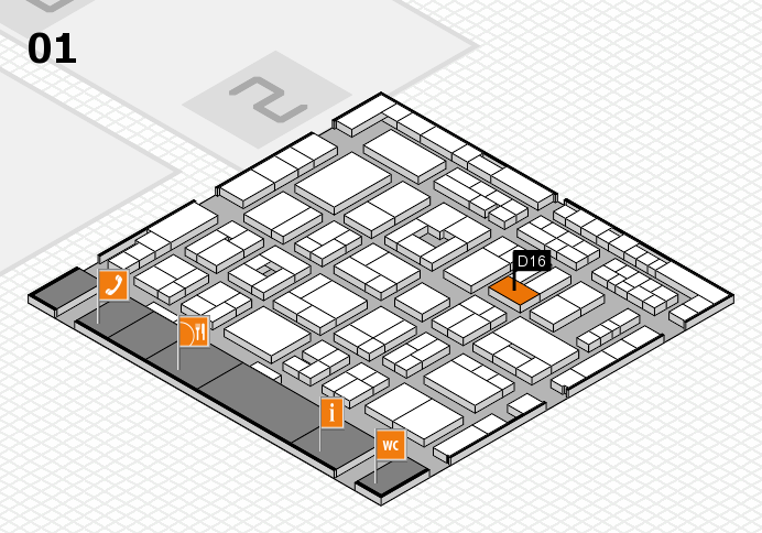 MEDICA 2016 hall map (Hall 1): stand D16