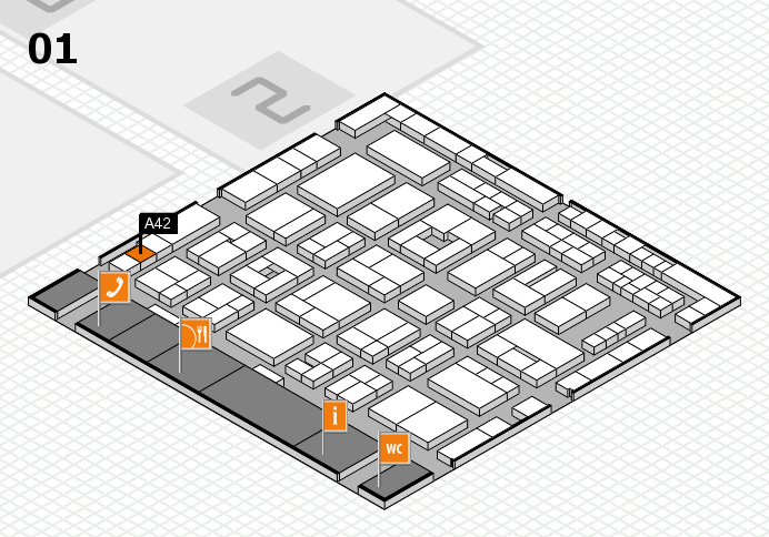 MEDICA 2016 hall map (Hall 1): stand A42