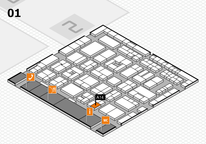 MEDICA 2016 hall map (Hall 1): stand A14