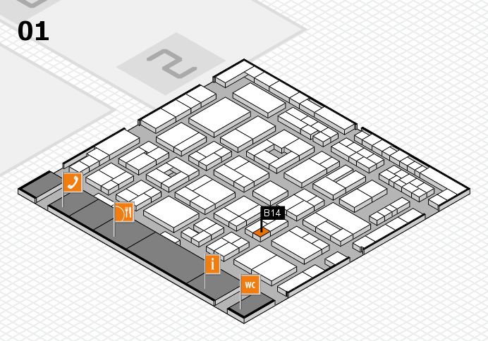 MEDICA 2016 hall map (Hall 1): stand B14