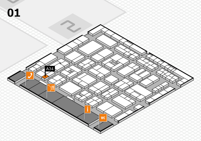 MEDICA 2016 hall map (Hall 1): stand A34
