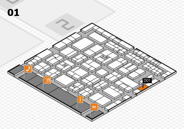 MEDICA 2016 hall map (Hall 1): stand D01