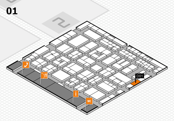 MEDICA 2016 hall map (Hall 1): stand D01