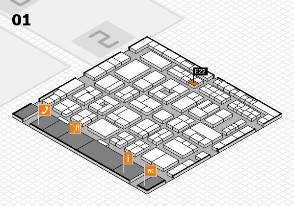 MEDICA 2016 hall map (Hall 1): stand E22