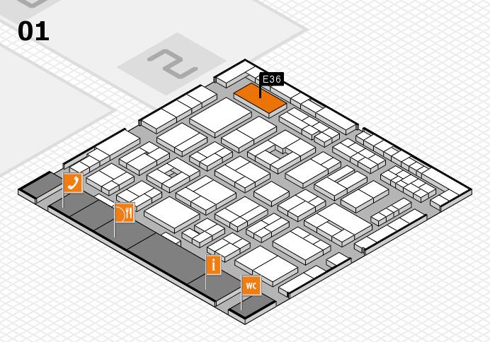 MEDICA 2016 hall map (Hall 1): stand E36