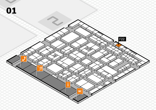 MEDICA 2016 hall map (Hall 1): stand F22