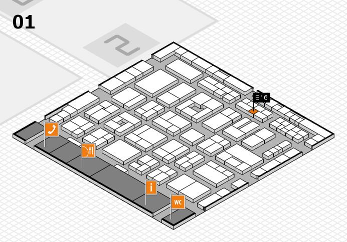 MEDICA 2016 hall map (Hall 1): stand E16