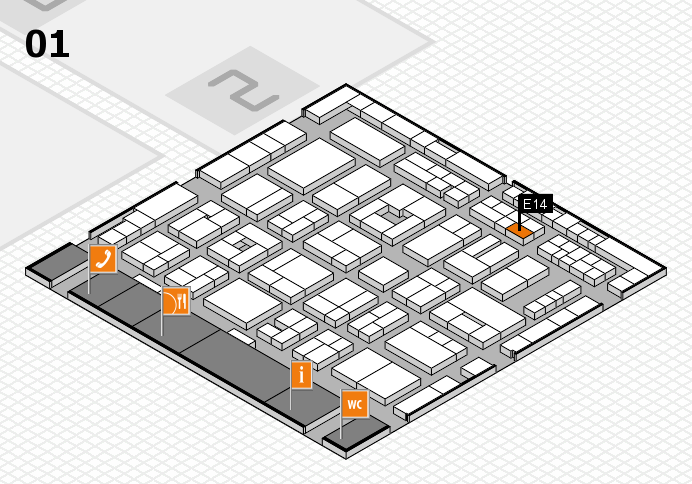 MEDICA 2016 hall map (Hall 1): stand E14