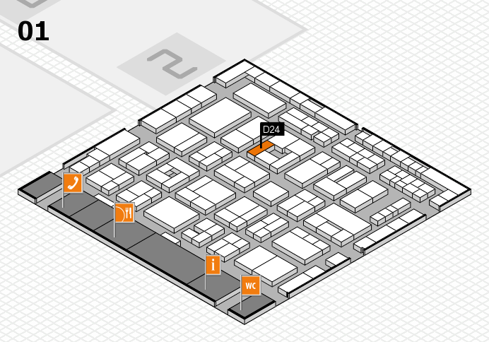 MEDICA 2016 hall map (Hall 1): stand D24