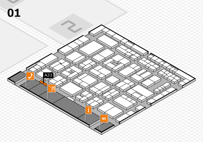 MEDICA 2016 hall map (Hall 1): stand A33