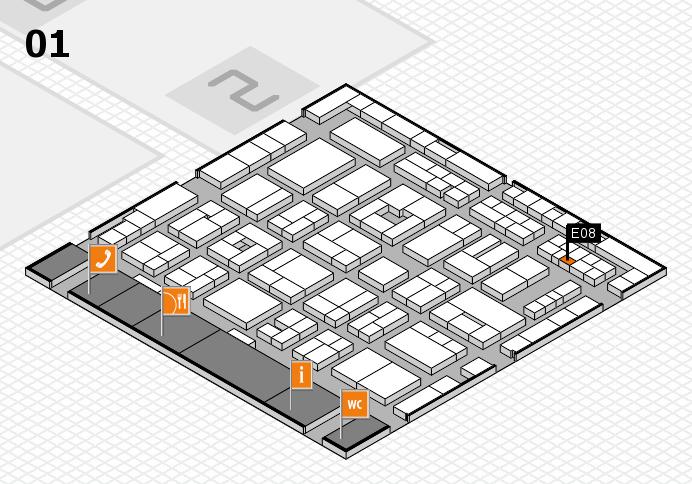 MEDICA 2016 hall map (Hall 1): stand E08