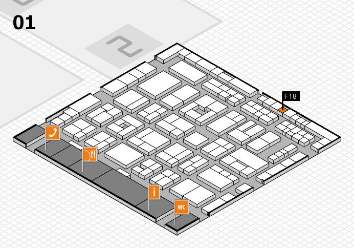 MEDICA 2016 hall map (Hall 1): stand F18