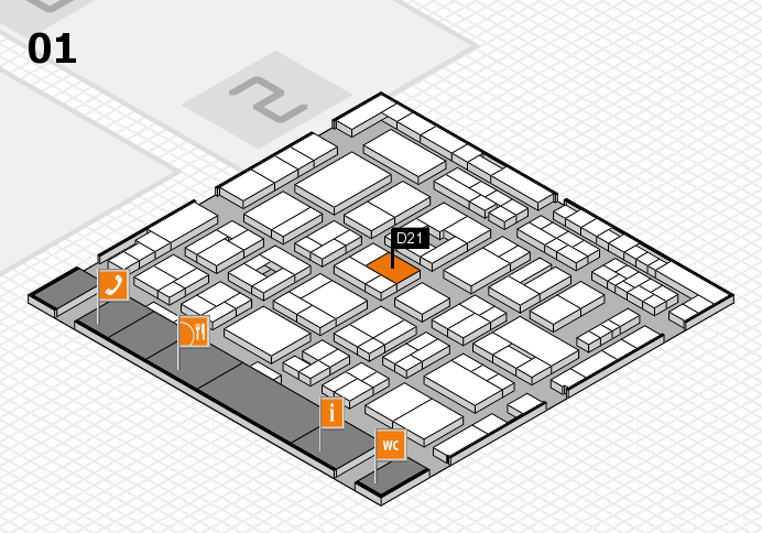 MEDICA 2016 hall map (Hall 1): stand D21