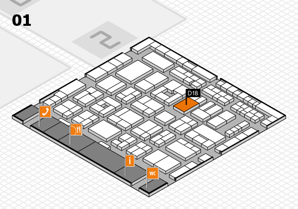 MEDICA 2016 hall map (Hall 1): stand D18