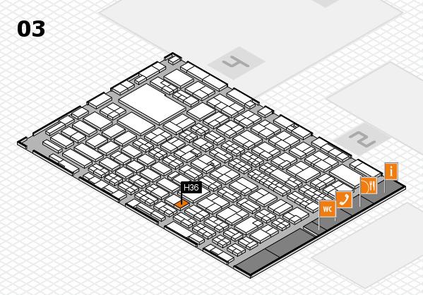 MEDICA 2016 hall map (Hall 3): stand H36