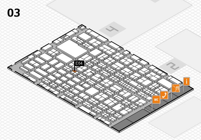 MEDICA 2016 hall map (Hall 3): stand E64