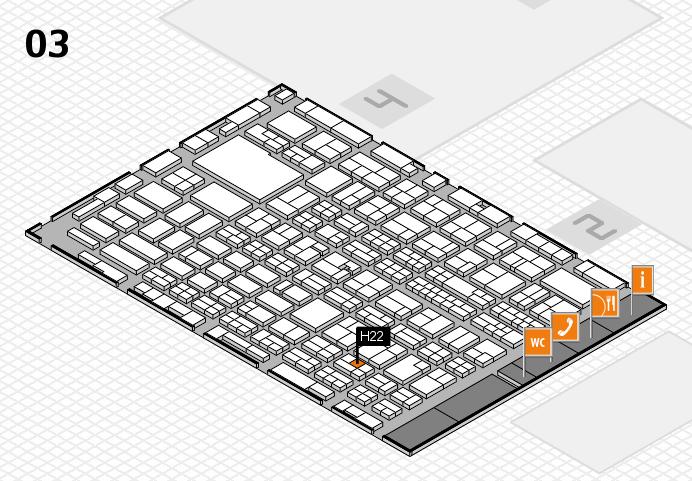 MEDICA 2016 hall map (Hall 3): stand H22