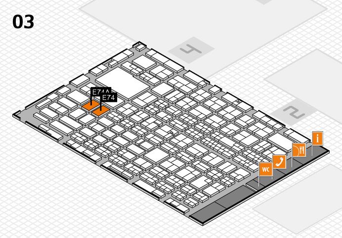 MEDICA 2016 hall map (Hall 3): stand E74, stand E74A
