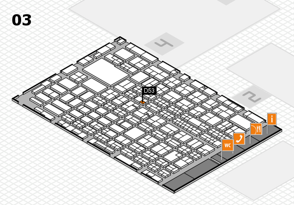 MEDICA 2016 hall map (Hall 3): stand D53