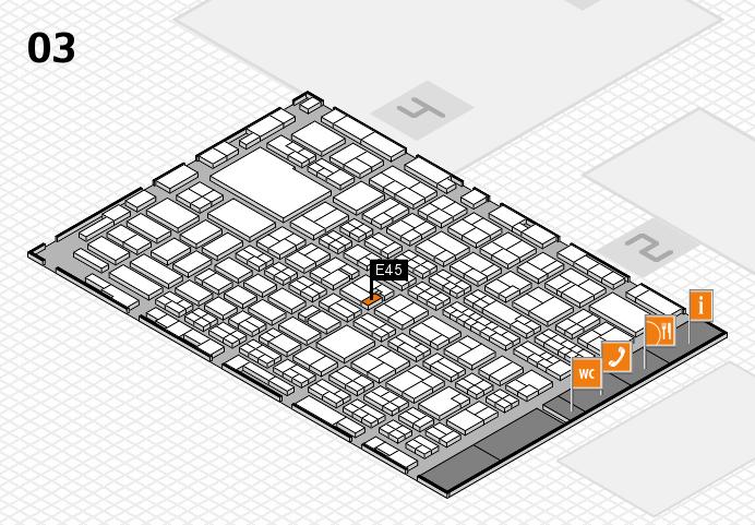 MEDICA 2016 hall map (Hall 3): stand E45