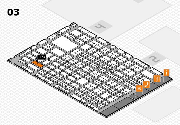 MEDICA 2016 hall map (Hall 3): stand H74