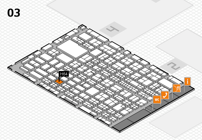 MEDICA 2016 hall map (Hall 3): stand H64