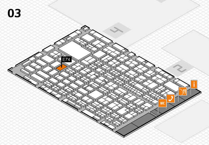 MEDICA 2016 hall map (Hall 3): stand E74