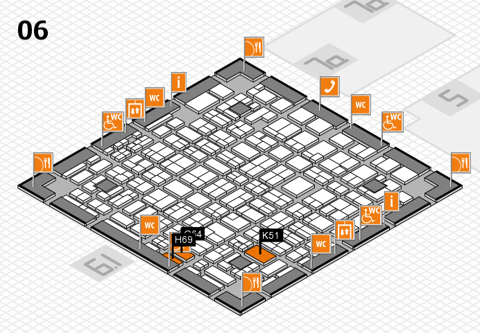 MEDICA 2016 hall map (Hall 6): stand G64, stand K51