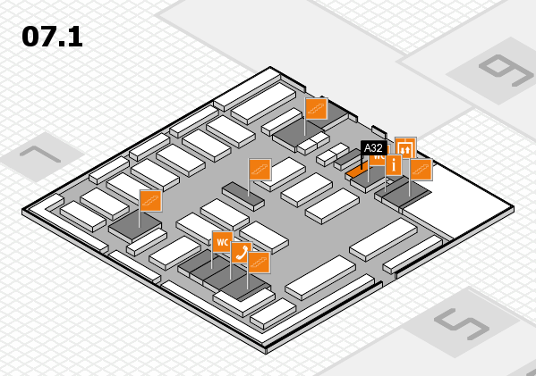 MEDICA 2016 hall map (Hall 7, level 1): stand A24, stand A32