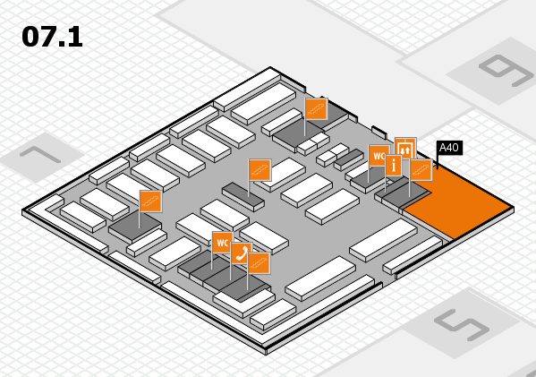 MEDICA 2016 hall map (Hall 7, level 1): stand A40