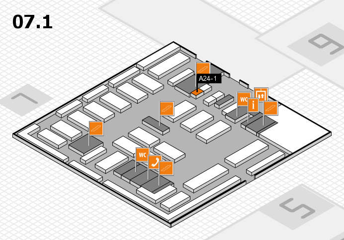 MEDICA 2016 hall map (Hall 7, level 1): stand A24-1