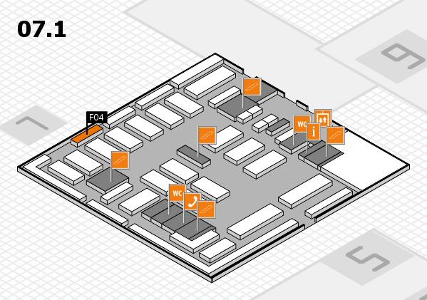 MEDICA 2016 hall map (Hall 7, level 1): stand F04